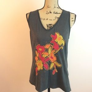 C. Keer Embroidered Beaded Floral Tank Top M
